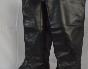 Vintage Riding Boots 1980's Tall Faux Leather Boots Black Boots
