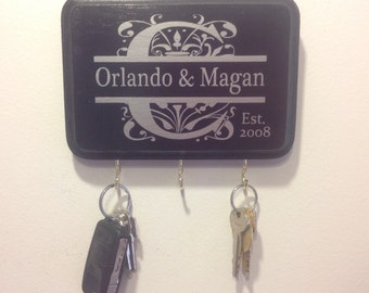 Black & Silver Personalized Monogram Key Holder.  Perfect for wedding gift, anniversary gift, engagement gift and bridal shower gift.