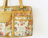 Caramel and Tapestry Floral Vintage Purse / Vintage Floral Shoulder Bag / Tapestry Floral Satchel / Boho Floral Purse