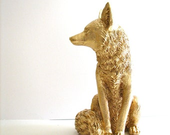 GOLD Large Fox Animal Statue in gold cabin nursery kids room office gift for her him table top statue woodland nursery forest animal decor