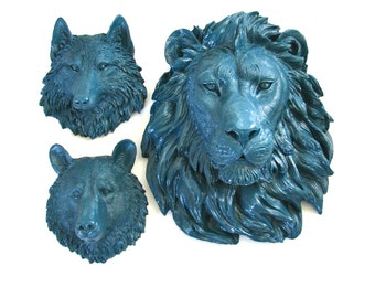 Set of 3:  Any Color 1 Large Lion Head and any 2 small faux animal head wall mounts wall hanging wall decor nursery office faux taxidermy
