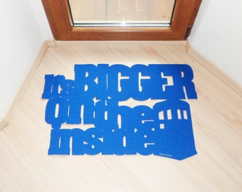 Dr. Who door mat. It's bigger on the inside floor mat, with Tardis police call box. Custom doormat. Exclusive design.
