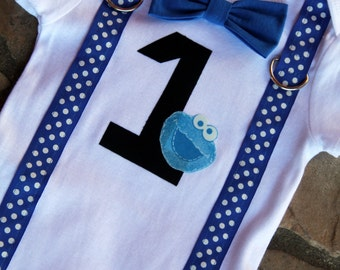 Cookie Monster Baby Boy Bow Tie Bodysuit with Suspenders - Birthday, Photo Prop, First Birthday, Sesame Street, 1st Birthday