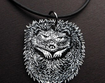 Hedgehog Necklace, hedgehog pendant, stocking filler, christmas gift for an animal lover or fellow hibernator, do not wake me until spring