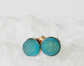 Druzy earrings - Stud earrings - Rose Gold - Post earrings - Drusy agate - Aqua Druzy
