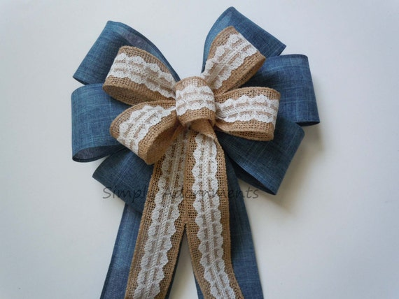 Denim Burlap Lace Wedding Bow Country Blue Denim Lace Bow Burlap Lace Bow Wedding Ceremony Aisle Decoration Bow