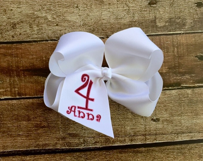 Monogrammed Hair Bow, Monogrammed gifts, Name, Age, Birthday hair bows