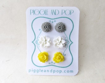 Flower Stud Earring Set in Grey White and Yellow. Resin Flower Earrings. Small Stud Earrings. Gray Mum, White Lotus, Yellow Rose Earrings.