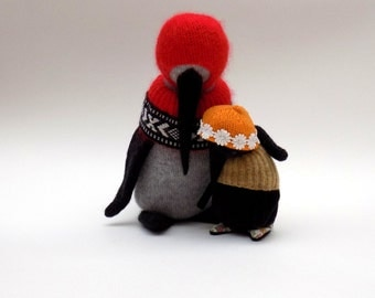 SALE - Black Velour Baby Penguin  -  Handmade plush penguin wearing oatmeal woollen cape and orange woolly hat with daisy trim.