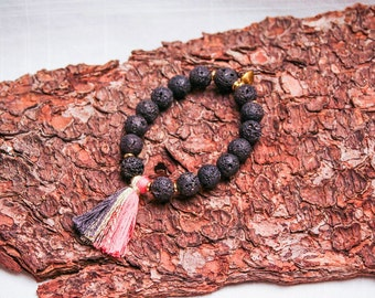 Lava Rock Bracelet with Tassel, PINK and GREY, Stretch and Fun.