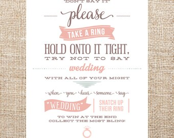 Printable Bridal Shower Ring Game Sign- Don't Say It!