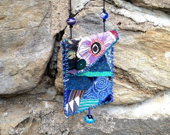 SALE - Colorful FabricBoho Festival Bag in Blues with Glass Beads - perfect small bag