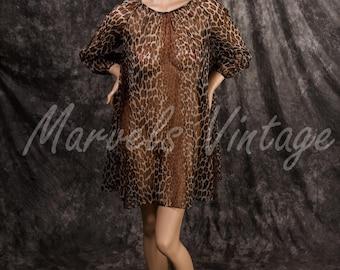 Vintage Vanity Fair Lingerie Leopard Print Sheer Chiffon Nightgown Mini Dress Size XSmall