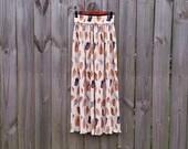 S M Small Medium 80s Seashell Novelty Print Festival Boho Indie Pleated Semi-Sheer High Waisted Summer Maxi Skirt