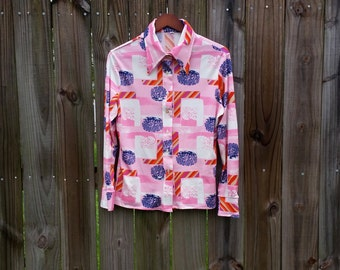 M Medium L Large Vintage 70s Pink Blue Trippy Print Button Up Dagger Collar Groovy Hippie Indie Hipster Long Sleeve Shirt Blouse