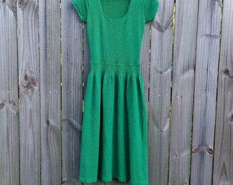 S M Small Medium Vintage 70s Kelly Green Boucle Knit Metallic Sparkle Scoop Neck Short Sleeve Spring Indie Hipster Dress