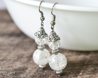 Crackled glass bead earrings, white glass and antiqued silver tone, bridal jewelry, bridesmaids' earrings, snowman earrings, ready to ship