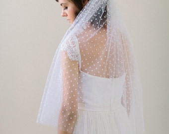 Elbow Length Polka Dot Veil with Bow, Ivory or White Dot Veil #705V