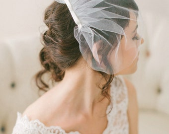 Tulle Birdcage Veil with Bow, Simple Tulle Blusher Veil with Small Satin Bow #716V
