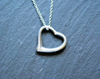 Sterling silver heart necklace, large heart pendant, designer style heart, open heart, simple heart necklace - yorkville