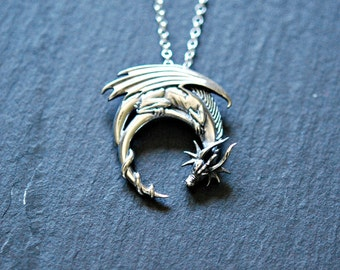 Sterling silver dragon necklace, winged dragon on moon pendant, goth medieval symbolic necklace, dragon jewelry, charmed2