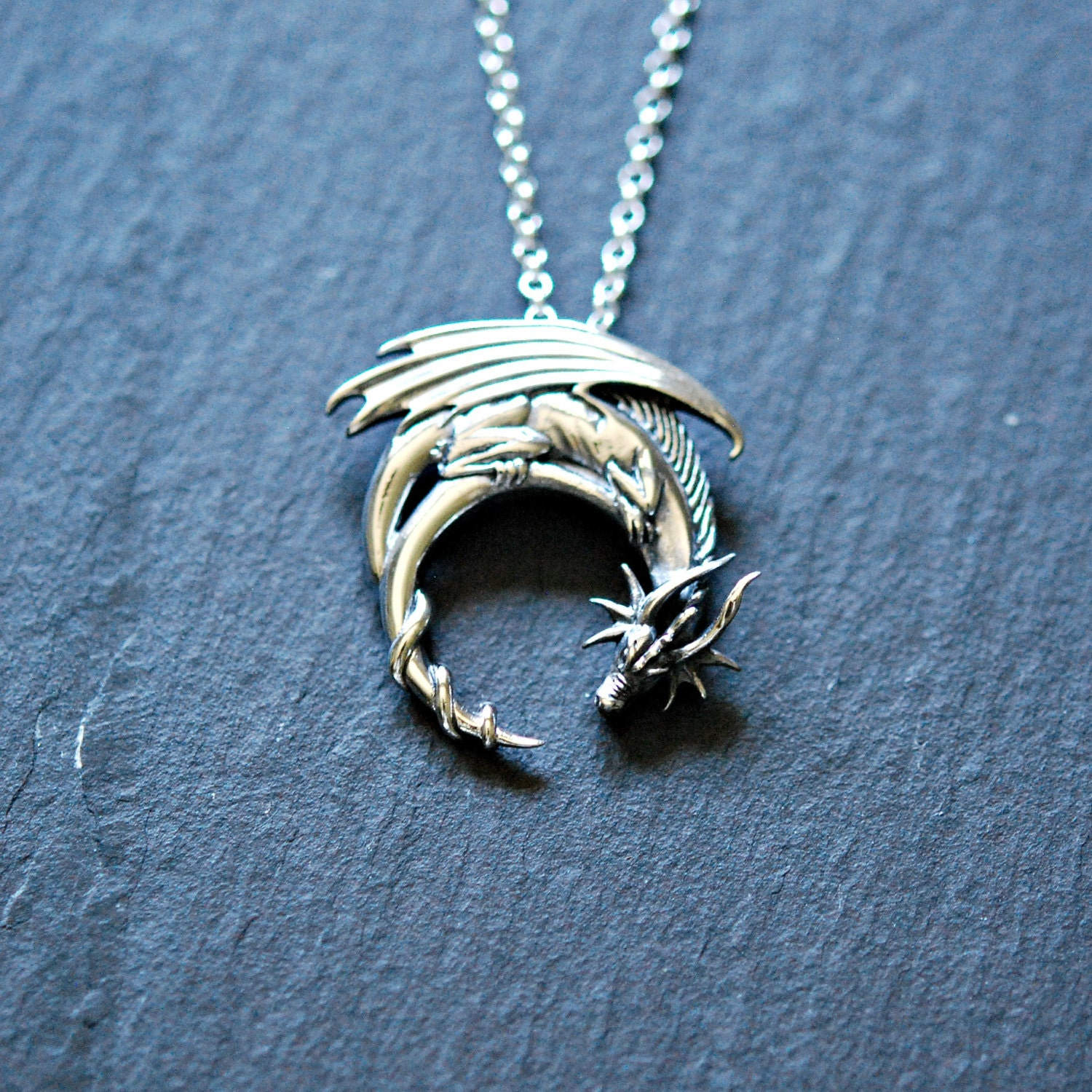 Sterling silver dragon necklace winged dragon on moon