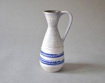 Vintage vase West German pottery white blue 1960 Mid-Century