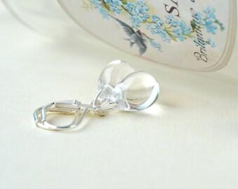 Clear Bead Earrings, Teardrop Earrings, Glass Dangle Earrings, Leverback Everyday Earrings, Small Drop Earrings, Rain Drop Earrings, UK
