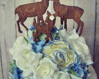 Deer family wedding cake topper deer silhouette wood hunting groom hunter camouflage themed bride groom topper buck doe fawn antlers rack