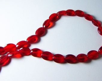 Ruby Red Quartz Faceted Oval Beads 13mm