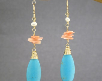 Ivory freshwater pearls, pink coral and turquoise earrings Modglam 18