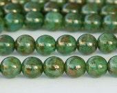 Milky Peridot / Bronze Picasso Czech Glass Beads, 10mm Round - 25 pcs - eBT61100-10r