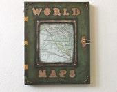 World Maps Steampunk Original Art Decoupage Book Painting