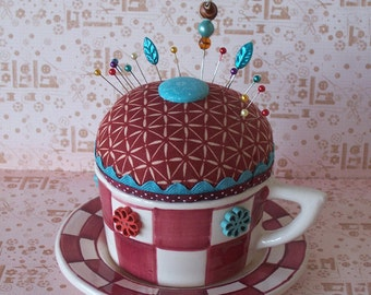 Fun Huge Cup and Saucer Pincushion Rust and Teal Colors