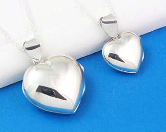 Mother Daughter Heart Locket Necklace, 925 Sterling Silver Heart locket Necklaces, Large and Medium. Choose chain. 19L- 18M