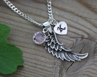 Sterling Angel Wing Necklace, Sterling Silver Angel Wing, Personalized choose initial&Birthstone. An Angel with You. Guardian Angel