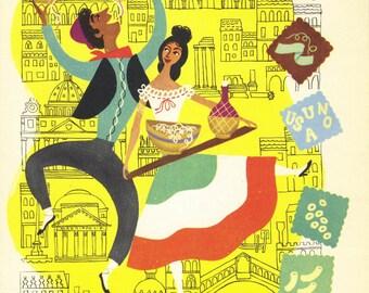 SALE Kitchen Print,  ITALIAN,  Wall Decor, Antique Ephemera, Vintage Illustration, Book Plate, Book Print, Food Print, Provensen, A-8