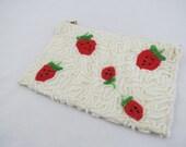 Vintage Beaded Bag,Strawberry Beaded Bag,Rosenfeld Beaded Bag,Beaded Cosmetic Bag,Beaded Coin Purse,Credit Card Holder,Free Shipping,6HTT15