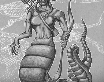 Medusa, Ray HarryHausen, Tribute, Fan Art, Clash of The Titans, PRINT