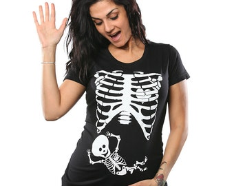 Pregnant Baby Skeleton Rib Cage Maternity T-Shirt Funny Pregnancy Costume Baby Shower Announcement Humor Gag Gift Tee Shirt Tshirt S-3XL