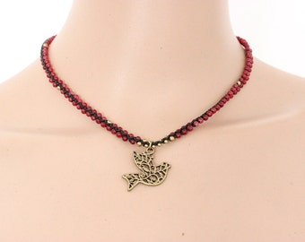 SALE Flourish Necklace with Dove - Red Ruby (001BR)