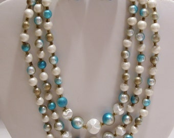 Beaded Three Strand Necklace and Earring Set in Turquoise, White and Aqua Made in Japan