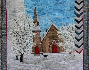 Church in the Snow, Applique and Fiber Art Winter Time Landscape Scene in the Woods, Handmade Wall Hanging Art Quilt