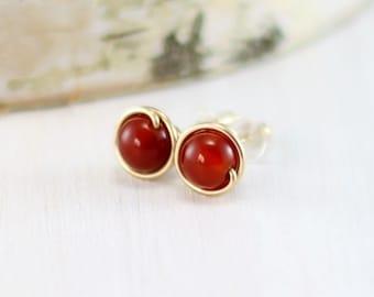 Carnelian Earrings, 14k Gold Filled Orange Gemstone Post Earrings Yellow Gold Wire Wrapped Red Carnelian Stud Earrings