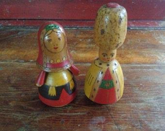 Charming Vintage Wood Dolls ~ Colorful Folk Art ~ Hand Painted ~ Set of 2 ~ Handmade