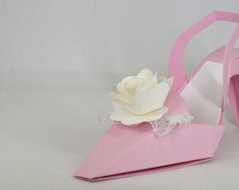 High Heeled Shoe Favor in Pink with Hand Rolled Paper Rose