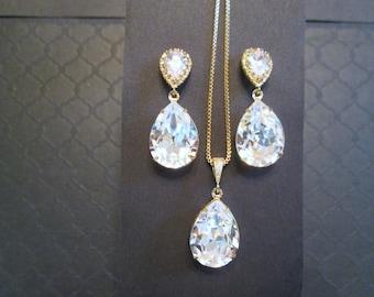 Large Swarovski Clear Crystal Bridesmaid Set/Gold Bridesmaid Jewelry Set/Clear Swarovski Earrings/Wedding Jewelry/Bridesmaid Earrings/Bridal