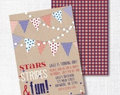 STARS STRIPES ONE red white and blue 1st birthday party invitation memorial day labor day 4th of july rustic pennant patriotic birthday bbq