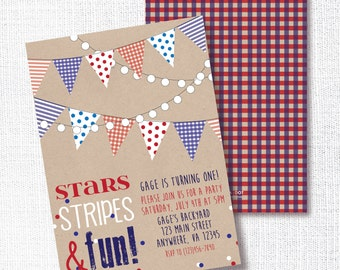 stars, stripes and one - red white and blue 1st birthday party invitation - memorial day - labor day - 4th of july - patriotic birthday