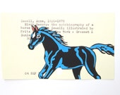 Black Beauty Library Cart Art - Print of my painting of horse on library card catalog card